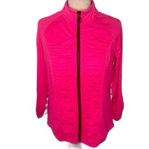 Hard Candy Sport Hot Pink Ruched Zip Up Jacket